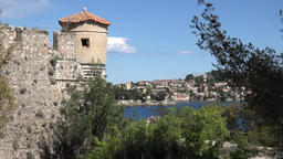 France Cote d'Azur Villefranche sur Mer city wall with watchtower & sea view GIF