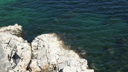 France Cote d'Azur Villefranche sur Mer cliff with turquoise water from above ビデオ