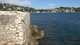France Cote d'Azur Villefranche sur Mer projection of the city wall & blue sea ビデオ