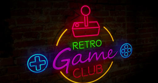 Gaming club retro neon Animation
