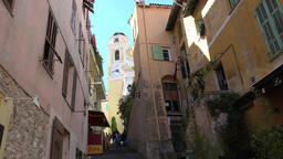 France Cote d'Azur Villefranche sur Mer uphill alley to Saint Michel church Footage