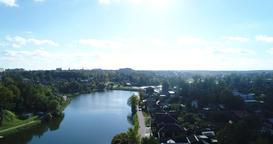 Aerial View pond and park near Trinity-St. Sergius Lavra In Sergiev Posad 4K Archivo