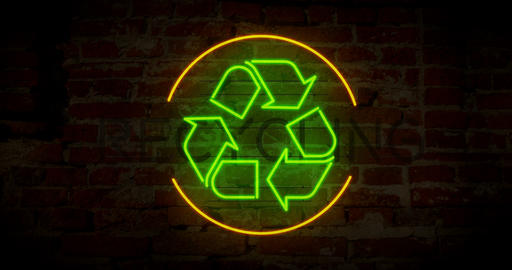 Recycling symbol neon Animation