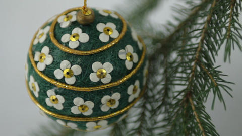 Hand crafted Christmas bulb view from above Stock Video Footage
