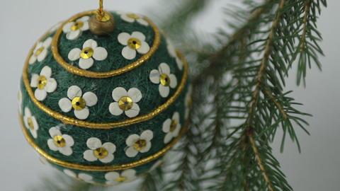 Hand crafted Christmas bulb view from above Footage