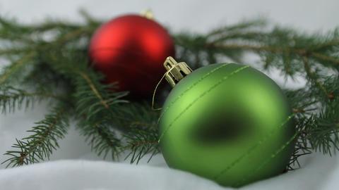 Red and green Christmas bulbs Footage