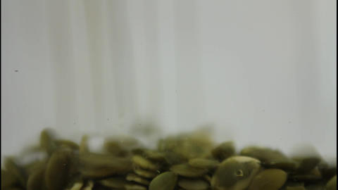 Pumpkin seeds falling Stock Video Footage