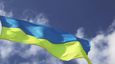 Ukrainian flag waving on cloudy pattern Stock Video Footage