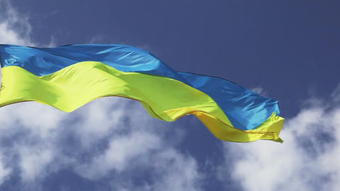 Ukrainian flag waving on cloudy pattern Footage