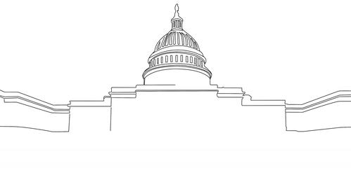 4 K Capitolium handdraw design 1 Stock Video Footage