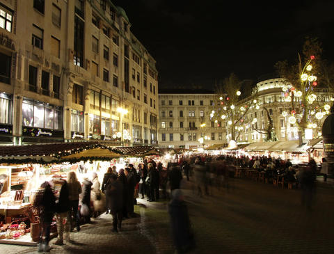 4 K Christmas Market in Budapest 2 Stock Video Footage