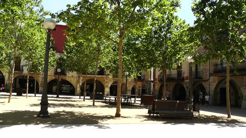 Square in Small Town in Spain 05 Catalonia Footage