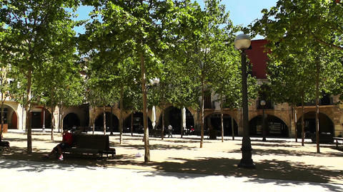Square in Small Town in Spain 05 Catalonia Stock Video Footage