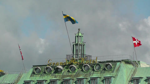 Stockholm Grand Hotel view from Gamla Stan Stock Video Footage