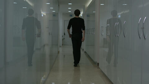 corridor with men slow motion Stock Video Footage