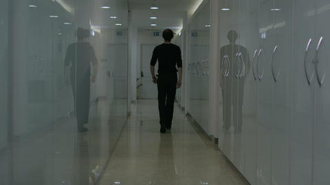 corridor with men slow motion Footage