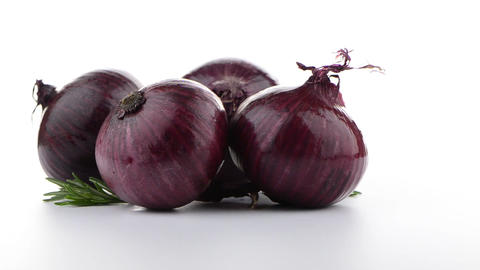 Red onion rotating Stock Video Footage