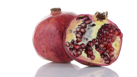 Half pomegranate fruit Stock Video Footage