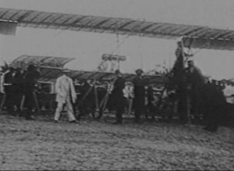 The first aircraft, a newsreel Footage