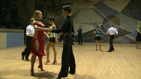 Teacher of the ballroom dance, rehearsal Stock Video Footage