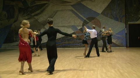 Teacher of the ballroom dance, rehearsal Stock Video Footage