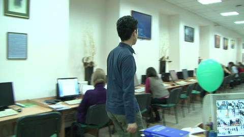 Students in the library for computers Stock Video Footage