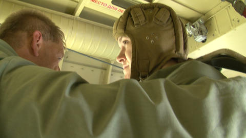 Military parachutists jump out of the plane Stock Video Footage