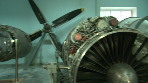 Turbojet aircraft engine Stock Video Footage