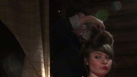 Make-up artist made make-up actress Footage