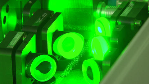 Green laser beam Stock Video Footage
