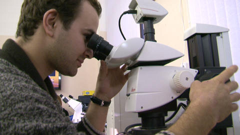 A scientist at the microscope Footage