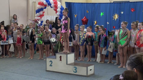 Awarding Ceremony For Girls, Sports Pedestal stock footage