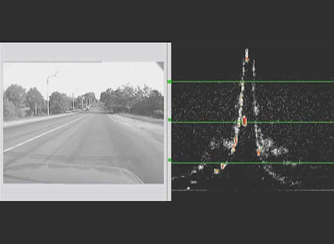 The highway on the screen thermal imager Stock Video Footage