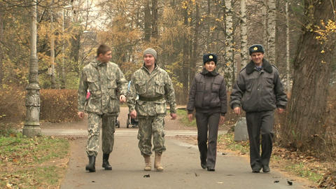 The guards in the park Footage