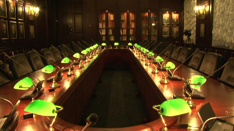 A conference table with lamps Stock Video Footage