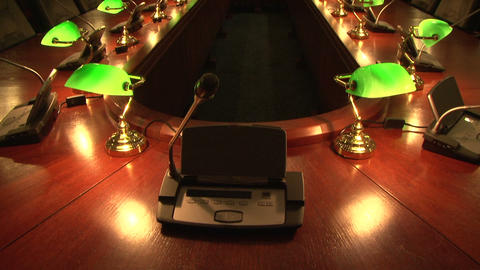 A conference table with lamps Footage