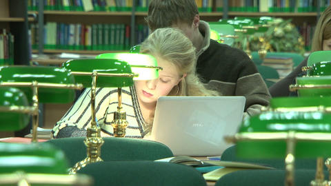Students in the library Stock Video Footage
