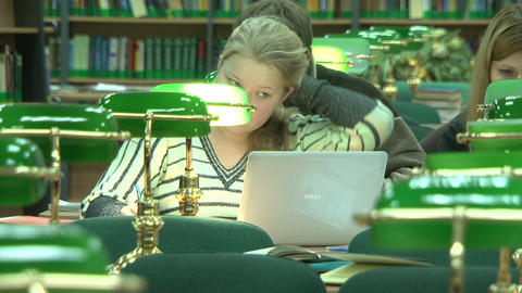 Students in the library Footage