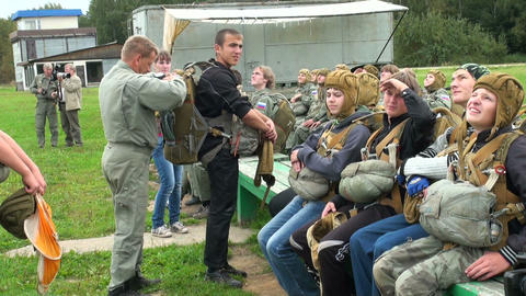 Training of parachutists to jumping Footage