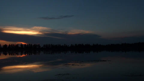 Sunset over the lake Stock Video Footage