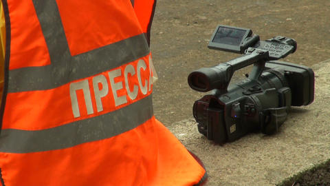 The operator of the camera Stock Video Footage