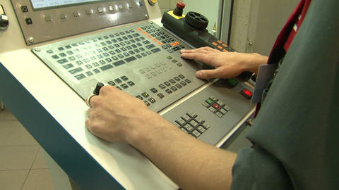 Hands and industrial control Stock Video Footage