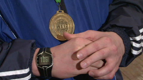Gold medal on his chest Stock Video Footage