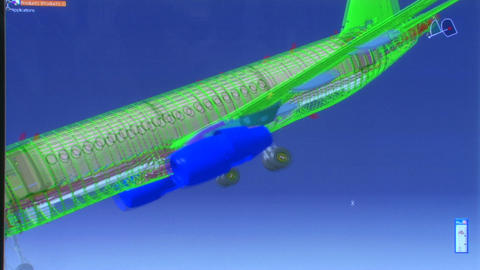3D airplane model Stock Video Footage