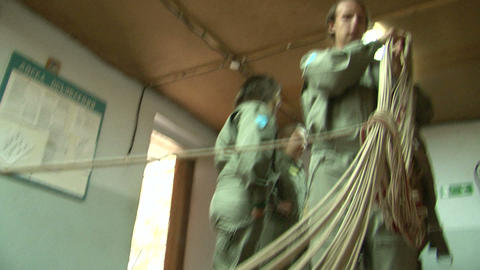 Training of parachutists to jumping Stock Video Footage