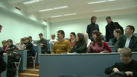 Students at a lecture in the classroom Stock Video Footage