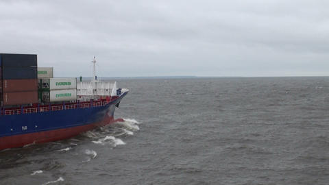 The ship is sailing on the bay Stock Video Footage