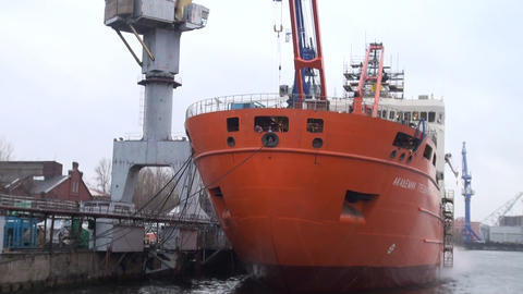 A vessel in the port of Stock Video Footage