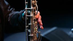 musician playing bassoon, wind instrument, slider shot Footage