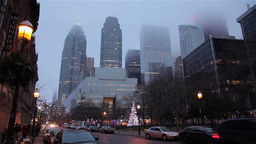 Toronto financial district on a foggy day Footage